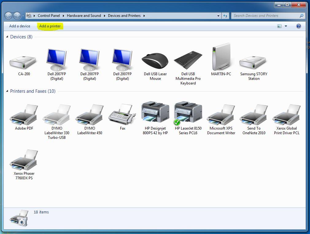 Adding a network printer in Windows 7 - SCU - ANU